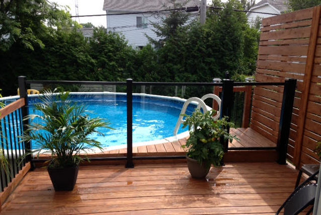 glass handrail and pool